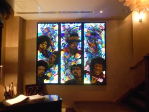 Jimi Hendrix stained glass at Sanctum Soho