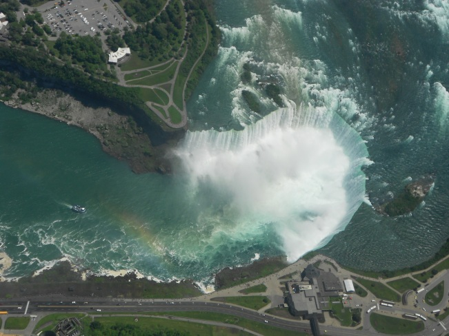 Looking down at the horseshoe Niagara Falls from the helicopter