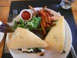 Goats cheese sandwich and sweet potato fries (mmm) at Pure Spirits