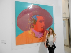 Journalist Lisa Hughes with Warhol at the Stadel Museum Frankfurt