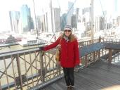 Lisa Hughes on the Brooklyn Bridge