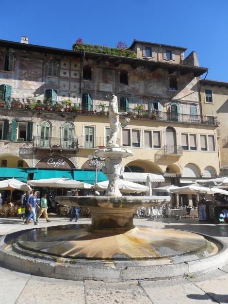 Madonna statue fountain in Piazza delle Erbe Verona