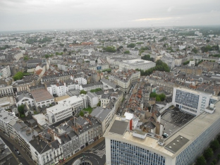 View of Nantes from top floor Le Nid